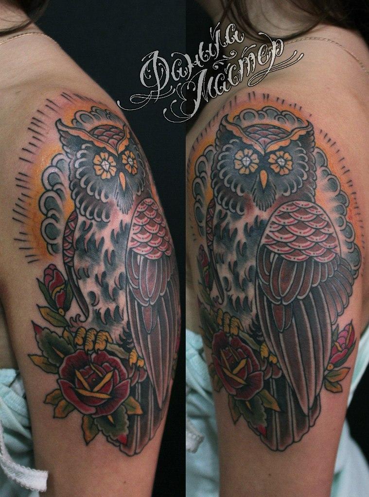 Художественная татуировка «Сова» от Данилы-Мастера