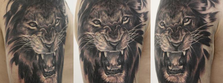 Художественная татуировка «Лев». Мастер Виктория Ахметзянова.