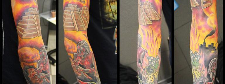 Рукав от мастера художественной татуировки Евгения Химика