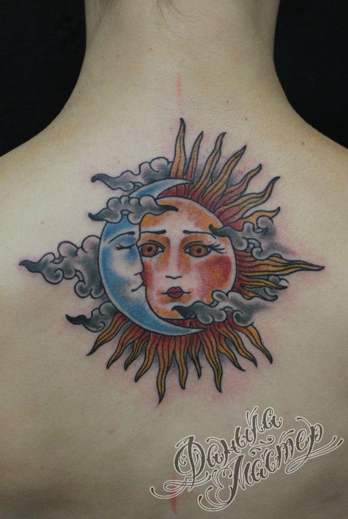 Художественная татуировка «Луна и Солнце» от Данилы-Мастера