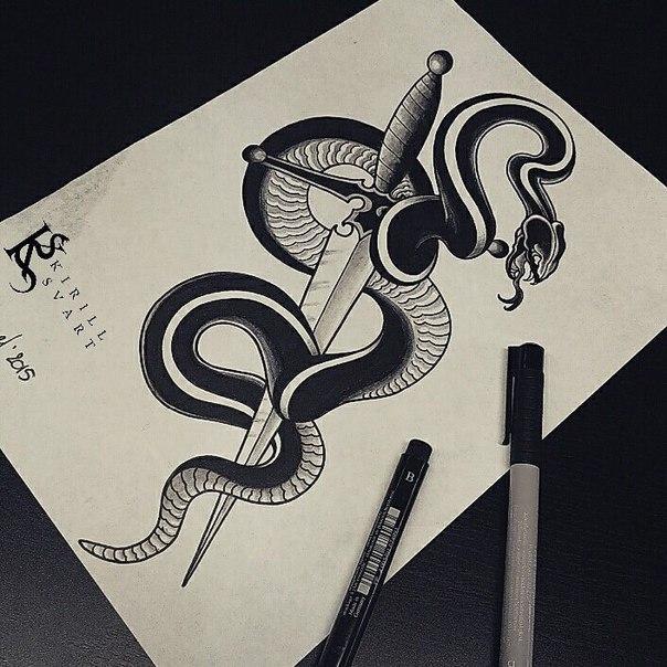 Свободный эскиз «Змея и меч». Мастер Кирилл Сварт.