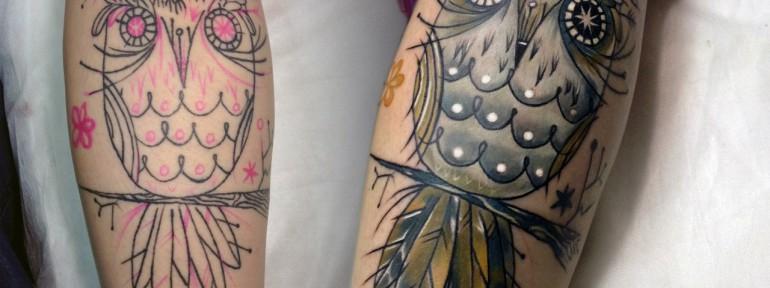Художественная татуировка «Сова». Мастер Ян Енот.