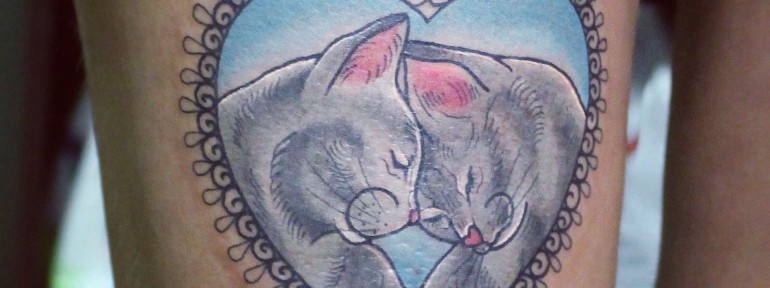 Художественная татуировка «Коты». Мастер Настя Стриж.