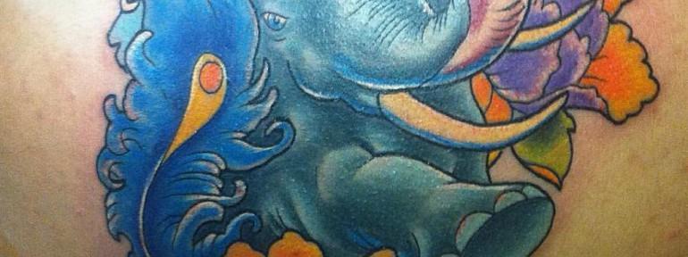 Художественная татуировка «Слон» от Евгения Химика