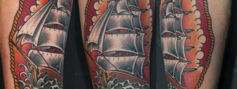 Художественная татуировка «Парусник» от Данилы-Мастера