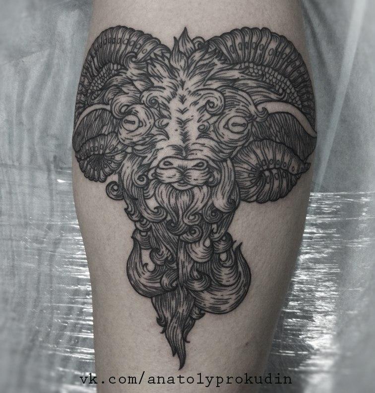 Художественная татуировка «Баран» от Анатолия Прокудина