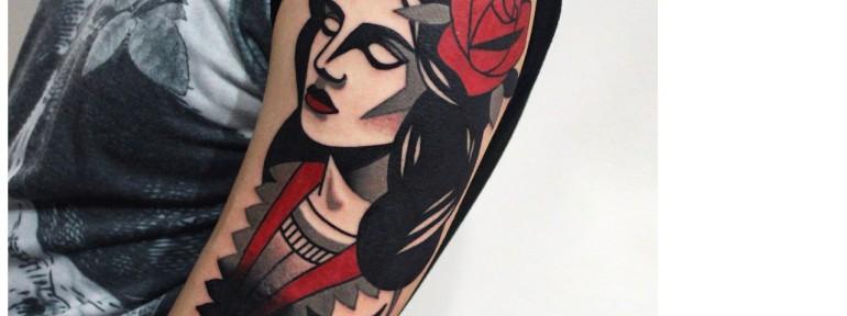 Художественная татуировка «Девушка». Мастер — Денис Марахин