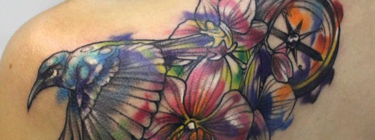 Художественная татуировка «Акварель». Мастер Ян Енот.