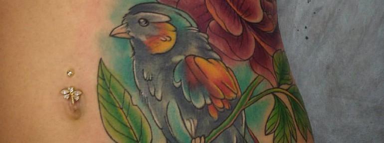 Художественная татуировка «Птица» от Евгения Химика