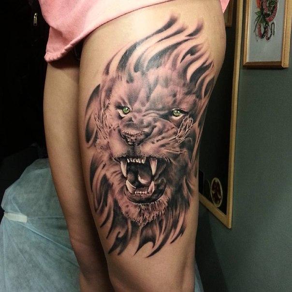 Художественная татуировка «Лев» от Евгения Ершова.