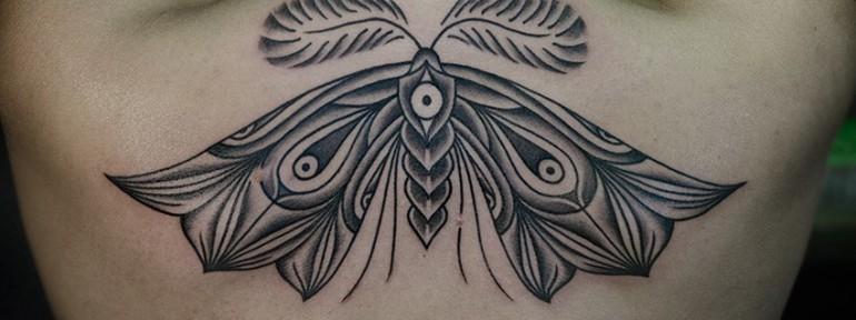 Художественная татуировка «Бабочка». Мастер Данил Костарев.