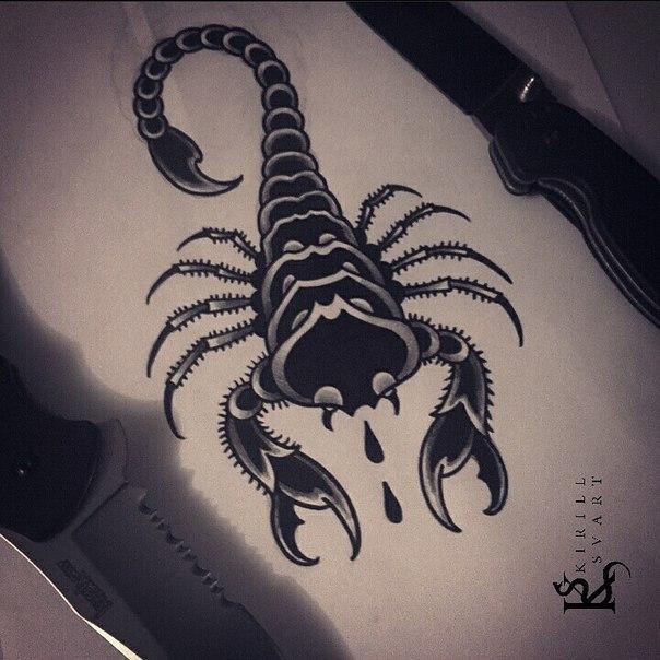 Свободный эскиз «Скорпион». Мастер Кирилл Сварт.