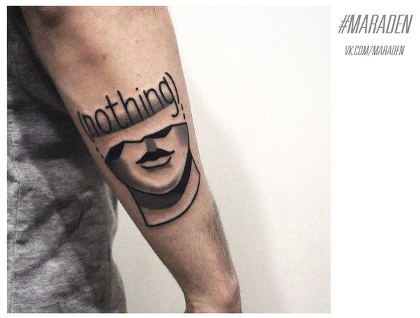 Художественная татуировка «NOTHING». Мастер — Денис Марахин.