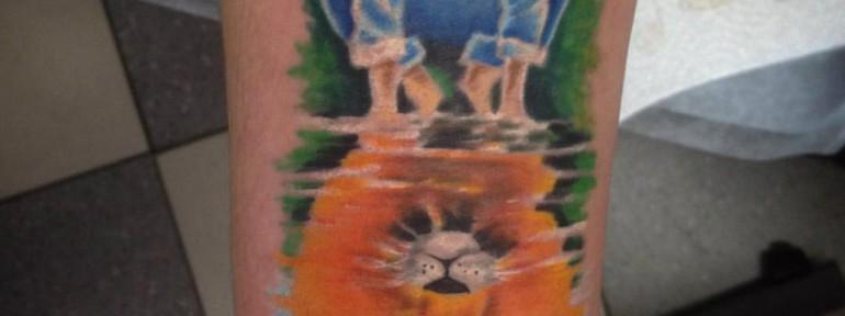 Художественная татуировка «Отражение» от Евгения Химика