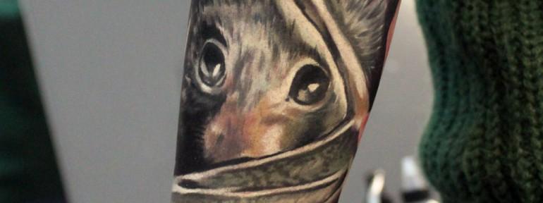 Художественная татуировка «Летучая мышь». Мастер Ян Енот.