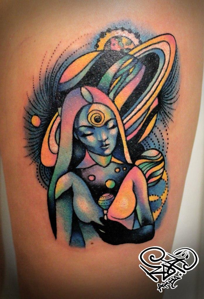 Художественная татуировка «Космос». Мастер — Анна Корь