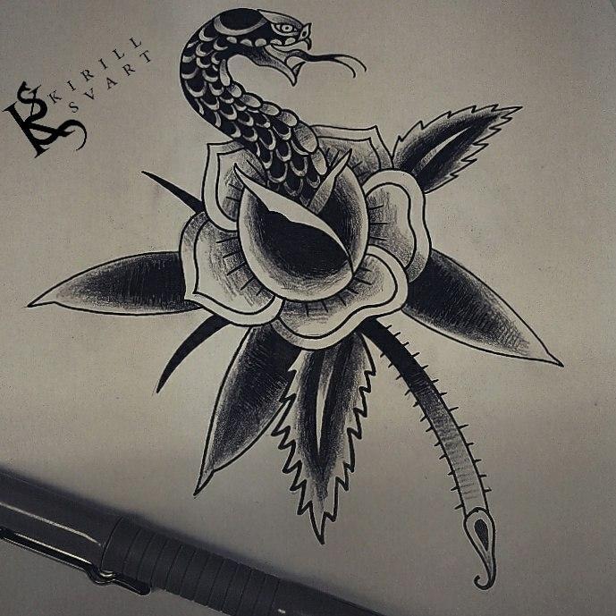 Свободный эскиз «Змея и роза». Мастер Кирилл Сварт.