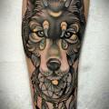 Художественная татуировка «Волк». Мастер — Анна Корь. Расположение — предплечье. Время работы — 3  часа. По собственному эскизу.