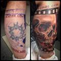"""Татуировка cover-up """"череп"""", выполнена мастером художественной татуировки Женей Химиком."""