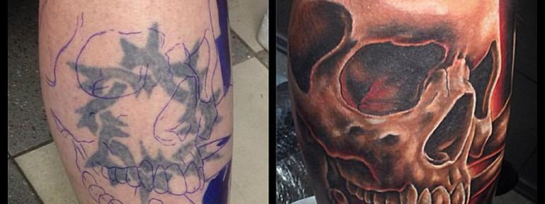Художественная татуировка cover-up «череп». Мастер Женя-Химик.