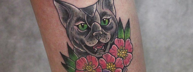 Художественная татуировка «Кошка». Мастер Настя Стриж.