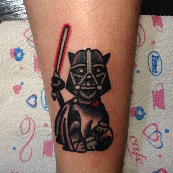 Художественная татуировка «Дарт Кот» от Вовы Meatshit