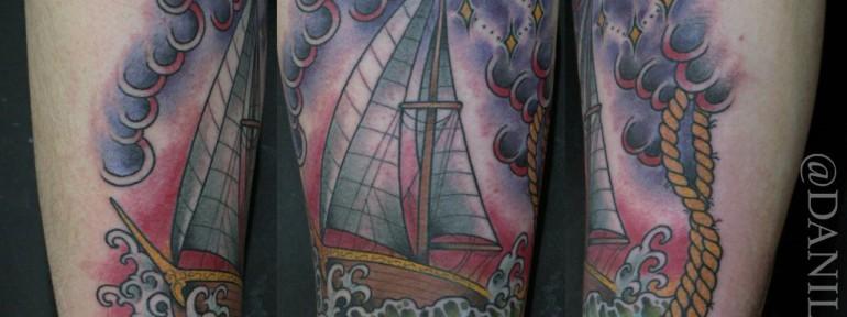 Художественная татуировка » Парусник» от Данилы-Мастера