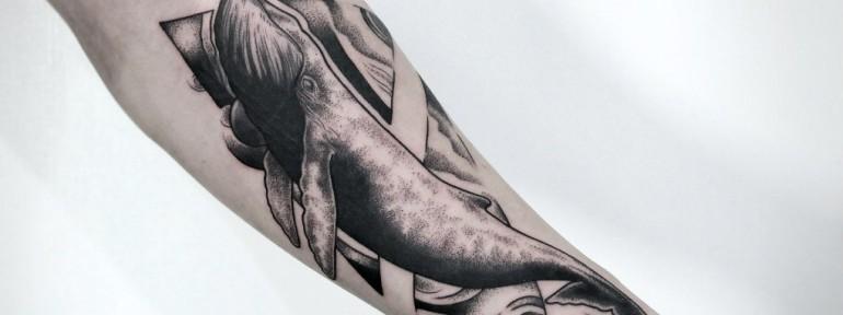 Художественная татуировка «Кит». Мастер — Инесса Кефир