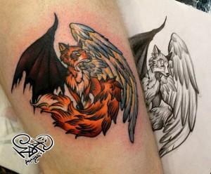 Художественная татуировка «Лиса». Мастер — Анна Корь. Расположение — голень. Время работы — 1,5 часа. По своему эскизу