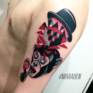 Художественная татуировка «Обезьяна». Мастер — Денис Марахин. Расположение — плечо. Время работы — 3 часа. По своему эскизу