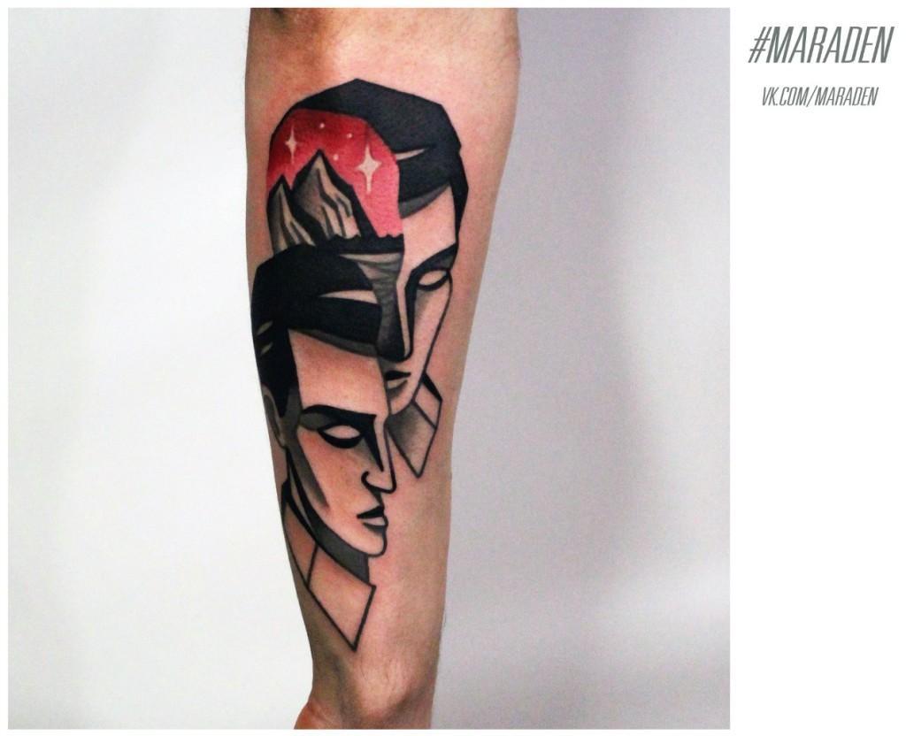 Художественная татуировка «Голова». Мастер — Денис Марахин. Расположение — предплечье. Один сеанс. По собственному эскизу.