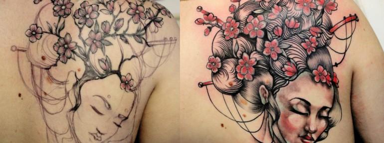 Художественная татуировка «Гейша». Мастер — Анна Корь