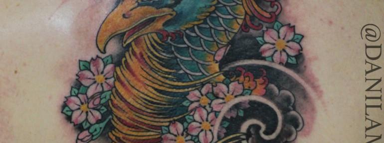 Художественная татуировка «Голова феникса» от Данилы-Мастера