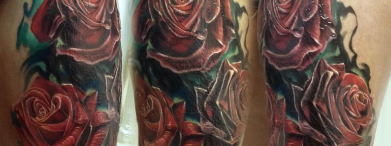 Художественная татуировка «Розы».  Cover. Мастер Ян Енот.