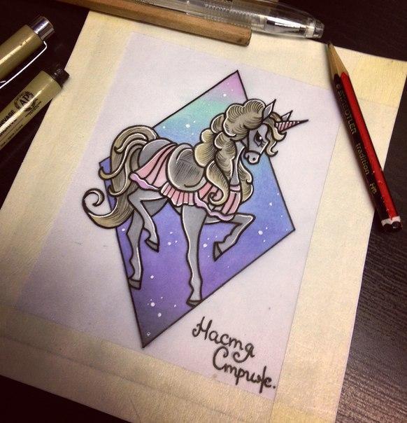 Свободный эскиз «Пони». Мастер Настя Стриж.