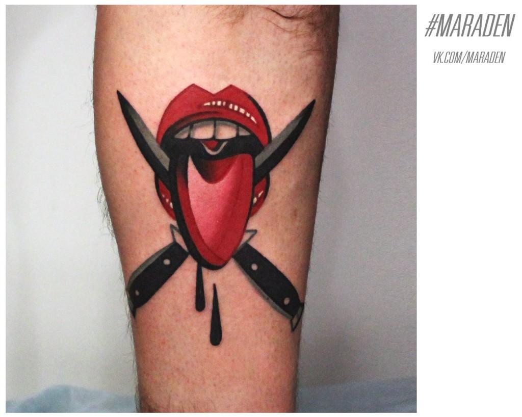 Художественная татуировка. Мастер — Денис Марахин. Расположение — голень. По собственному эскизу.