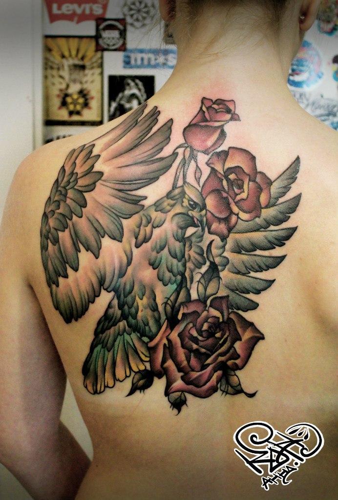 Художественная татуировка «Птица». Мастер — Анна Корь