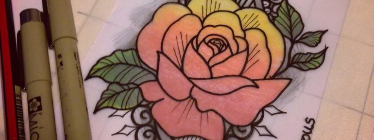Свободный эскиз «Роза». Мастер Настя Стриж.