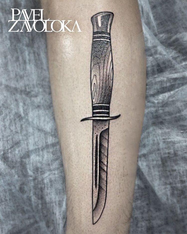 Художественная татуировка «Ножик». Мастер Павел Заволока.