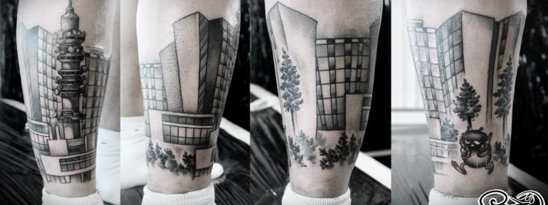 Художественная татуировка «Город». Мастер — Анна Корь