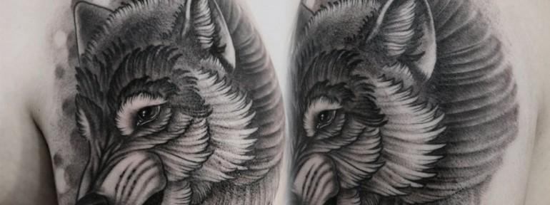 Художественная татуировка «Волк». Мастер Павел Заволока.