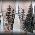 Художественная татуировка «Лес». Мастер — Анна Корь. Расположение — голень. Фрихенд по идее клиента