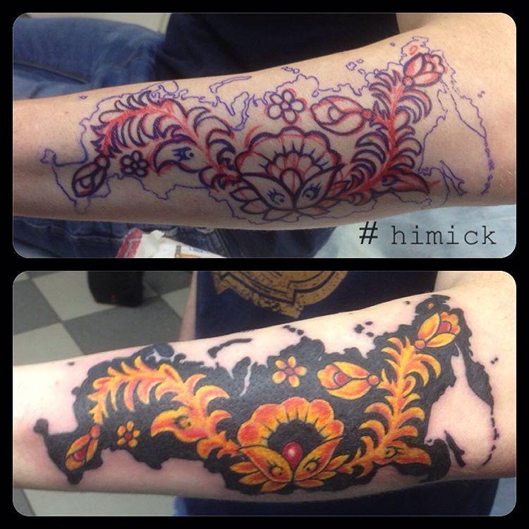Художественная татуировка «Хохлома» от Евгения Химика