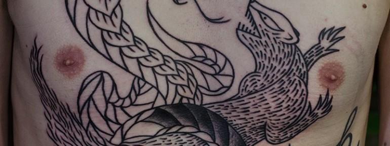 Художественная татуировка » Мангуст и змея».  Процесс. Мастер Даниил Костарев.
