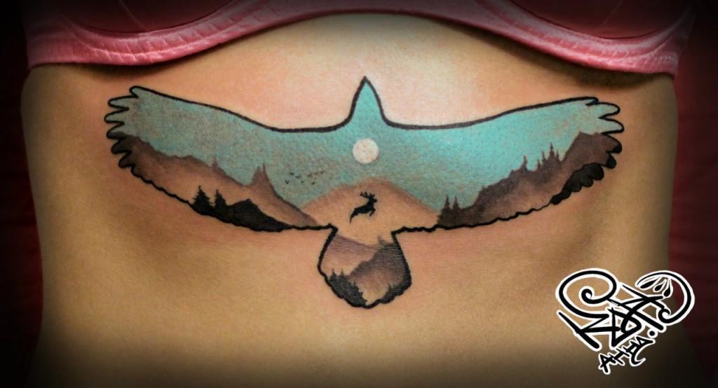 Художественная татуировка «Пейзаж». Мастер — Анна Корь. По идее клиента.
