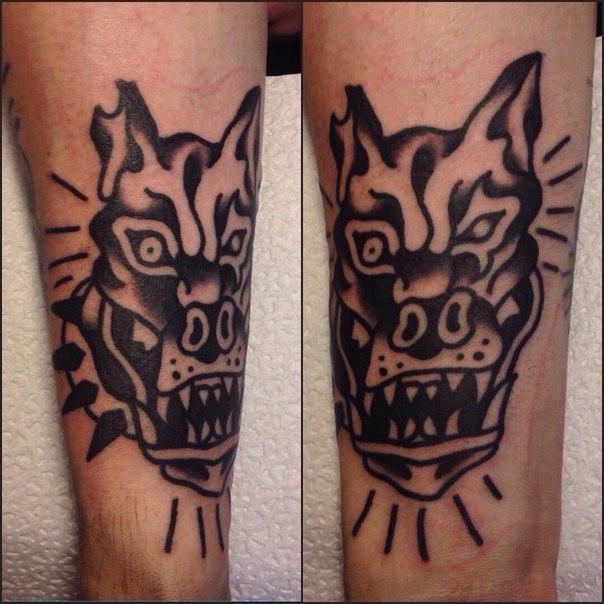 Художественная татуировка «Бульдог» от Вовы Meatshit.