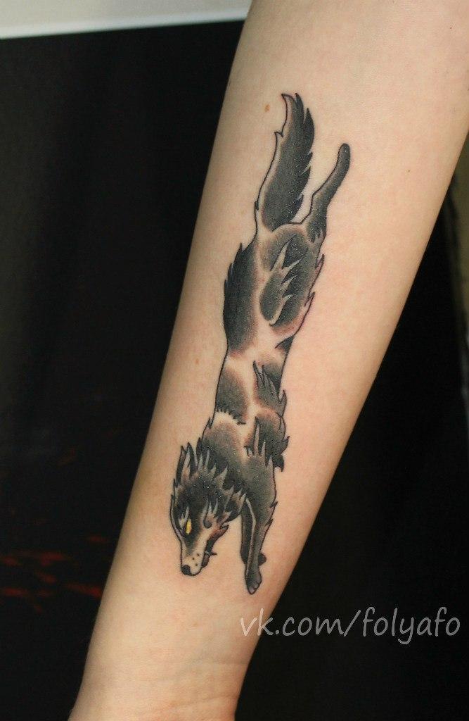 Художественная татуировка «Волк». Мастер Фоля Фо.