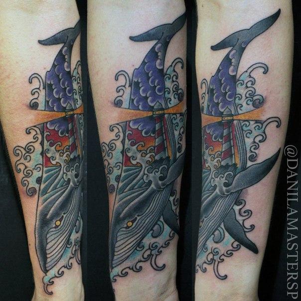 Художественная татуировка «Кит» от Данилы-Мастера.