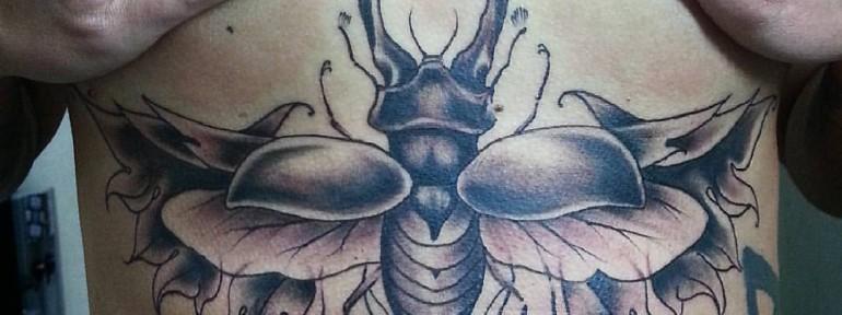 Художественная татуировка «Жук» от Евгения Ершова.