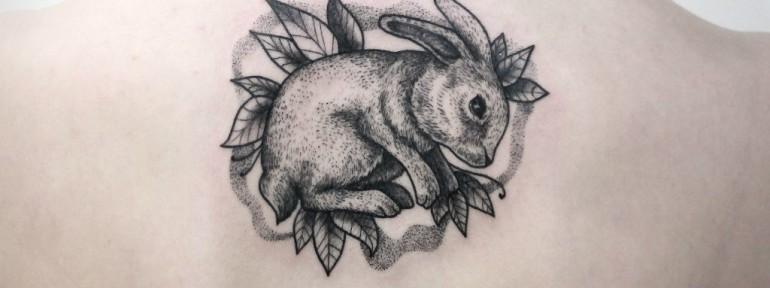 Художественная татуировка «Заяц». Мастер — Инесса Кефир